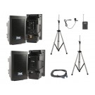 Explorer Pro Sound System with companion speaker, speaker cable, two speaker stands, and one wireless mic battery operated(True AC/DC )