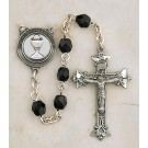 Boy's Jewelry/Pewter First Communion Black Crystal Rosary