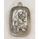 Large Rectangular Silver Saint Christopher Medal