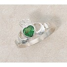 Green Heart Claddagh Sterling Silver Ring