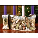 Woodgrain Advent Candleholder with Nativity Image
