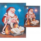 Adoring Santa Print with LED Star