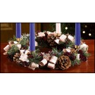 Advent Wreath with Bark and Purple Accents