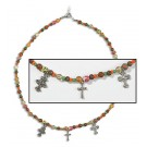 Beaded Pendant with Cross Charms